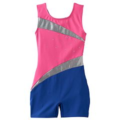 Girls 4-14 Jacques Moret Foil Colorblock Biketard Leotard