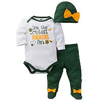 Baby Girl Green Bay Packers Cutest Fan 3-Piece Bodysuit Set