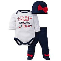 Baby Girl New England Patriots Cutest Fan 3-Piece Bodysuit Set