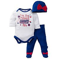 Baby Girl New York Giants Cutest Fan 3-Piece Bodysuit Set