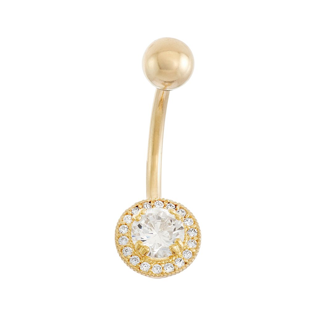 10k Gold Cubic Zirconia Halo Belly Ring