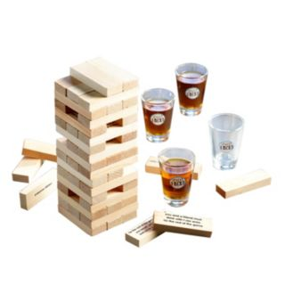 Game Night Tipsy Tower  Wooden Block & Shot Glass Set