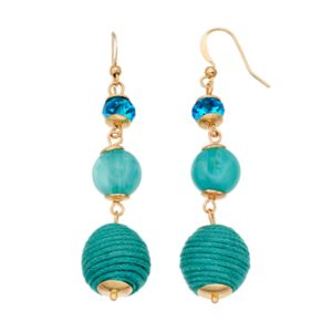 Aqua Thread Wrapped Bead Nickel Free Linear Drop Earrings