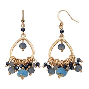 Blue Shaky Bead Nickel Free Chandelier Earrings