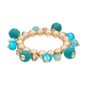 Aqua Thread Wrapped Shaky Bead Stretch Bracelet