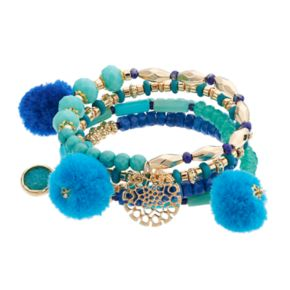 Blue Pom Pom Beaded Stretch Bracelet Set