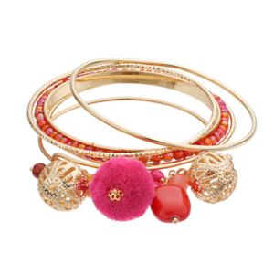 Beaded & Textured Pom Pom Charm Bangle Bracelet Set