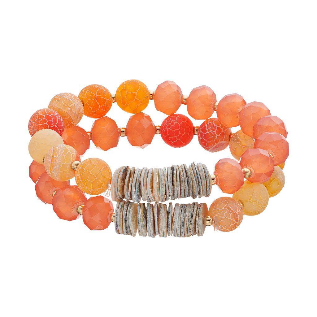 Peach Bead & Composite Shell Disc Stretch Bracelet Set