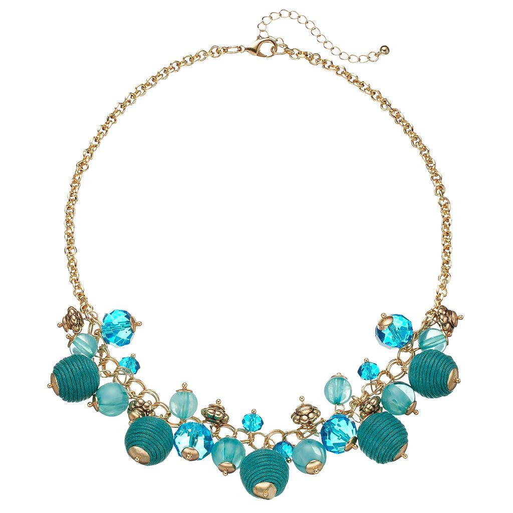 Aqua Thread Wrapped Shaky Bead Necklace
