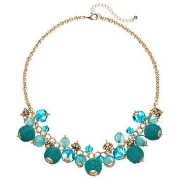 Aqua Thread Wrapped Shaky Bead Necklace