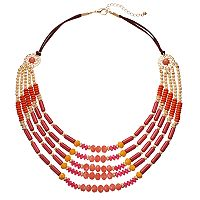 Pink Beaded Swag Statement Necklace