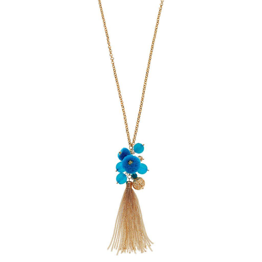 Long Aqua Beaded Cluster Tassel Necklace