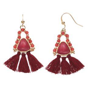 Red Tassel Fan Nickel Free Drop Earrings
