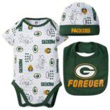 Baby Boy Green Bay Packers Forever Fan 3-Piece Bodysuit Set