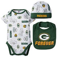 Baby Boy Green Bay Packers Forever Fan 3-Piece Bodysuit Set