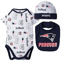 Baby Boy New England Patriots Forever Fan 3-Piece Bodysuit Set