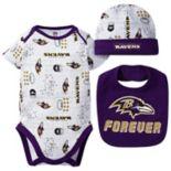 Baby Boy Baltimore Ravens Forever Fan 3-Piece Bodysuit Set