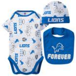 Baby Boy Detroit Lions Forever Fan 3-Piece Bodysuit Set