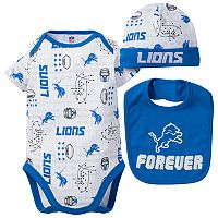 Baby Boy Detroit Lions Forever Fan 3-Piece Bodysuit Set