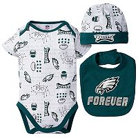 Baby Boy Philadelphia Eagles Forever Fan 3-Piece Bodysuit Set