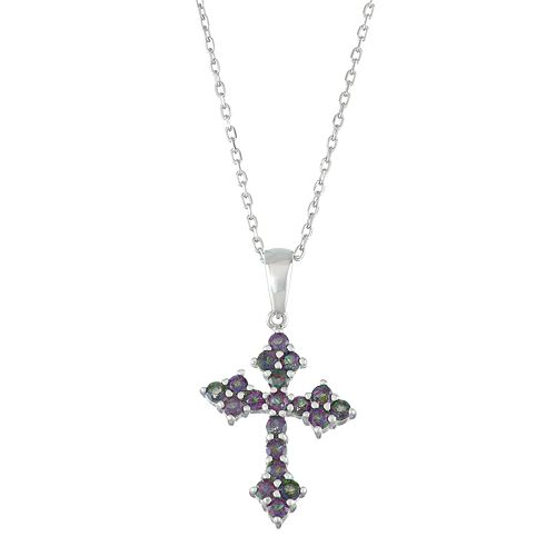 Sterling Silver Mystic Fire Topaz Cross Pendant Necklace
