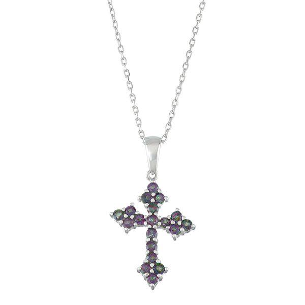 Sterling Silver Mystic Fire Topaz Cross Pendant Necklace