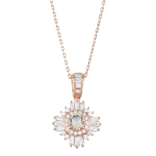 14k Rose Gold Over Silver Simulated Morganite & Cubic Zirconia Halo Pendant
