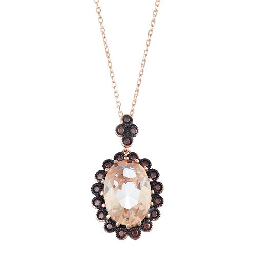 14k Rose Gold Over Silver Simulated Morganite & Cubic Zirconia Oval Halo Pendant