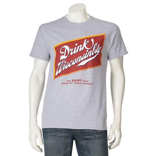 Men's Drink Wisconsinbly Beer Label Tee