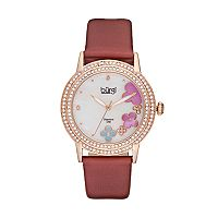 burgi Women's Floral Diamond & Crystal Leather Swiss Watch