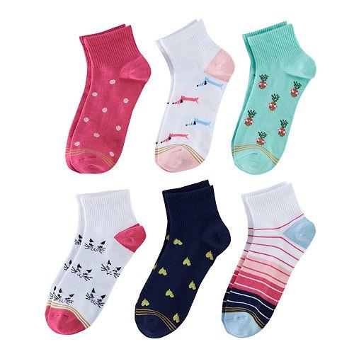 Girls 7-16 GOLDTOE 6-pk. Patterned 1/4-Crew Socks