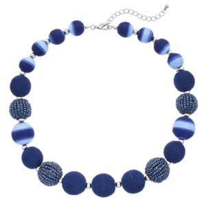 Blue Thread Wrapped Bead Necklace