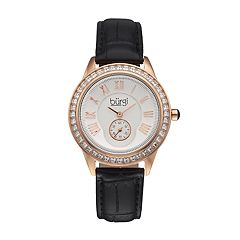 burgi Women's Crystal Leather Watch
