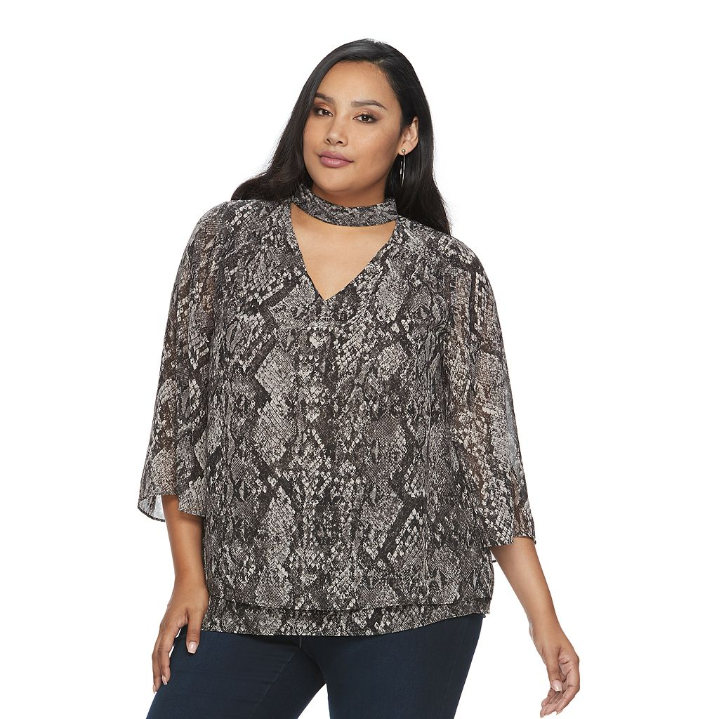 Plus Size Jennifer Lopez Choker Neck Chiffon Top