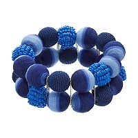 Blue Thread Wrapped Bead Double Strand Stretch Bracelet