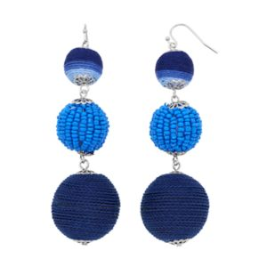 Blue Thread Wrapped Bead Linear Drop Earrings