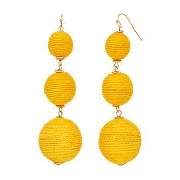 Yellow Thread Wrapped Bead Linear Drop Earrings