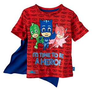 Toddler Boy PJ Masks Gekko, Ca5tboy & Owlette Graphic Tee with Cape