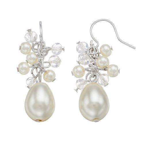 Simulated Pearl & Beaded Cluster Teardrop Earrings