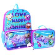 "Kids Shopkins Fairy Crums, Lippy Lips & Buncho Bananas ""Love Happy Shine"" Backpack & Lunch Bag Set"