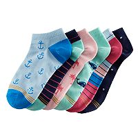 Girls 7-16 GOLDTOE 6 pkNautical Liner Socks