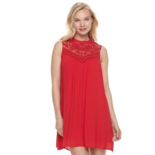 Juniors' Lily Rose Crochet Yoke Mockneck Dress