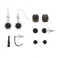 Black Rectangle Stud, Round Drop & J-Hoop Nickel Free Earring Set