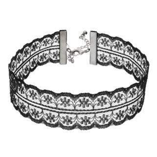 Black Scalloped Lace Choker Necklace
