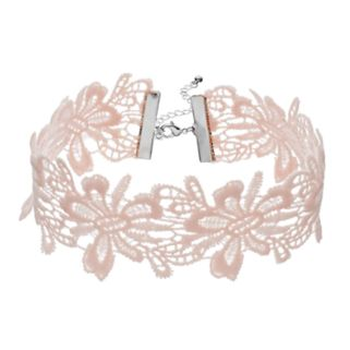 Pink Floral Lace Choker Necklace