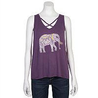 Juniors' Grayson Threads Criss-Cross Elephant Graphic Tank