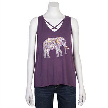 Juniors' Grayson Threads Criss-Cross Elephant Graphic Tank