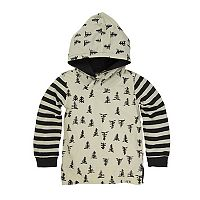 Toddler Boy Burt's Bees Baby Organic Snowy Trees & Stripes Hoodie