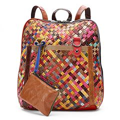 AmeriLeather Ellen Leather Basketweave Convertible Backpack with Coin Purse