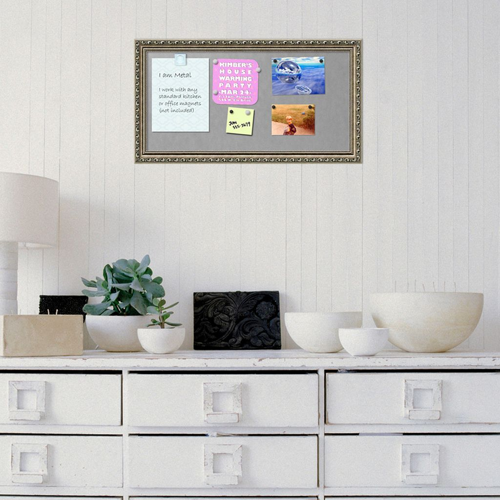 Amanti Art Parisian Silver Finish Framed Magnetic Bulletin Wall Decor
